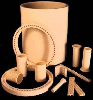 Furnace liners, heating elements supports and other ceramic parts in alumina